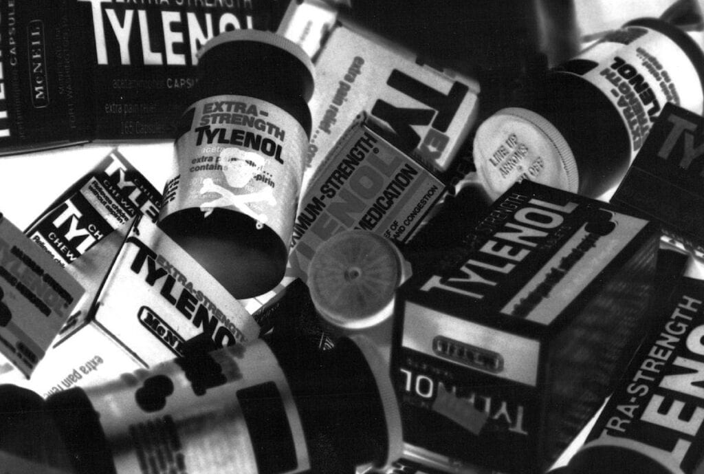 crisis management plan example: tylenol bottles and boxes